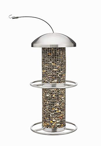 kamelshopping Vogelfutterspender zum Aufhängen, Edelstahl Vogelfutterstation mit Drahtgeflecht-Säule, 450ml Fassungsvolumen, Futtersäule für unsere heimischen Wildvögel