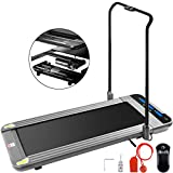 Popsport Smart Treadmill Folding Digital Portable Treadly Treadmill Slim Electric Walking Pad Fitness Training for Home Office(Sliver with Handle)