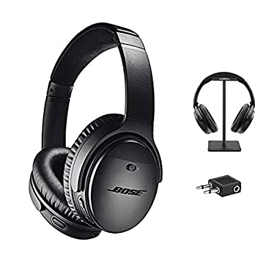 Bose QuietComfort 35 Series II Wireless Headphones, Black, Noise Cancelling with Headset Stand + Airplane Flight Adapter from QuietComfort