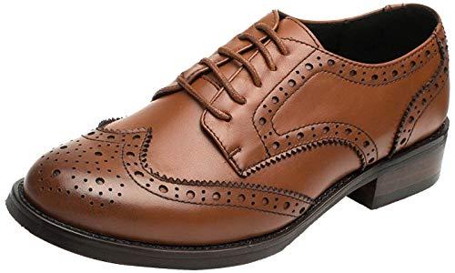 SimpleC Las mujeres perforaron Wingtip Leather Oxfords, Vintage Brogue cómodo Office Low Heel Shoes