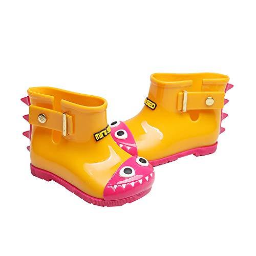 Egosy Botas de Agua de Goma para niños, niñas, Tiburones, Botas de Lluvia Cortas, Zapatos Unisex, Amarillo, 19