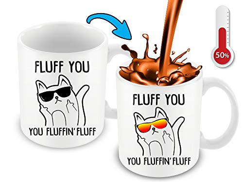Cortunex Heat Changing Mug | Fluff You Fluffin Fluff Middle Finger Coffee Mug | 11 Oz Color Changing Mug | Cute Funny Cat Mug With Kitty Face With Changing Glasses Great Mug For Cats Lovers
