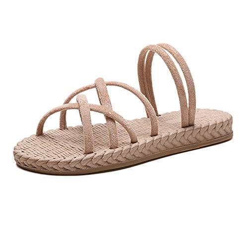 Sandalia para mujer plataforma cómoda, casual, al aire libre, peep toe doble desgaste plana zapatillas de goma, color, talla 37 EU
