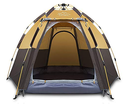 Toogh 3-4 Person Backpacking Tents Hexagon Waterproof Dome Automatic...
