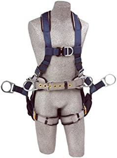 3M DBI-SALA, ExoFit 1108651 Fall Protection Tower Climbing Harness, 4 D-Ring`s, Quick Connect Buckle Legs, Hip Pad and Belt (Large), 420  lb Capacity, Medium, Gray/Blue