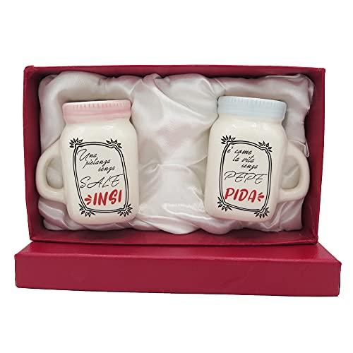 NAREG - Salero y pimentero de cerámica, juego de salero y pimentero en caja de regalo, porta condimentos, salero de mesa, salero y pimentero, juego de mesa