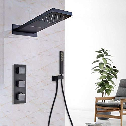 YASEking 8 de 10 pulgadas de baño grifo 2 Marcación de 2 maneras lluvia dorada conjunto conjuntos inversor control del termostato mezclador Rainshwoer