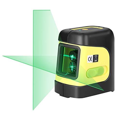 Firecore Laser Wasserwaage F112G Kreuzlinienlaser Grüner Selbstnivellierende Laserlevel mit Magnethalterung (IP55,2XAA Batterien)