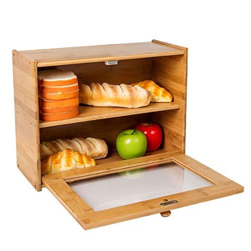 Goodpick Bamboo Bread Bin 2- Layer XL Bread Bin Countertop Bread Storage Bread Bins for Kitchen Retro Bread Bin with Transparent Window, 40 x 30 x 17 cm