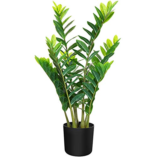 CROSOFMI Artificial ZZ Plant 35 Inches Fake Zamioculcas with 7 Trunk Faux Emerald Palm in Pot for Indoor Outdoor House Home Office Modern Decoration Perfect Housewarming Gift-1Pack