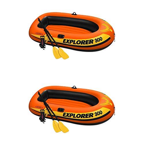 Intex Explorer 300 Compact Fishing 3 Person Raft Boat w/Pump & Oars (2 Pack)