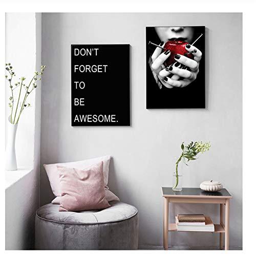 Suuyar Black Backgrond Fashion Woman mit Apple Poster und Print Awesome Decor Bild für Wohnzimmer Home Malerei Bilder-50x70cmX2Pcs No Frame