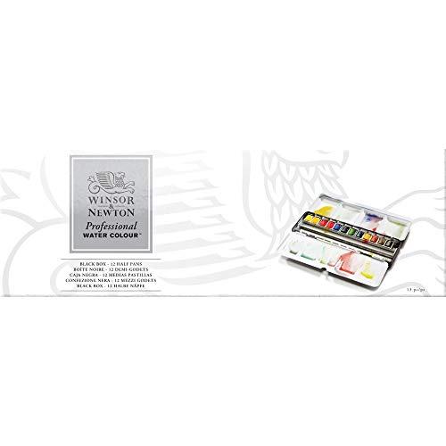 Professional Watercolor 12 Mezzi Godet Black Box
