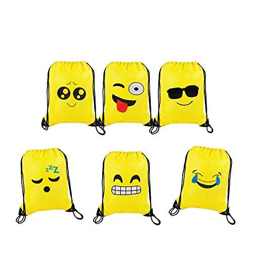 smileh Emoji Borse Sacca Emoji con Coulisse Sacchetto Emoji Zaino Drawstring Bag Sacche del PE per Bambini E Adulti Festa di Compleanno Bambini Bomboniare Borsa Sacchetto Festa 6Pcs