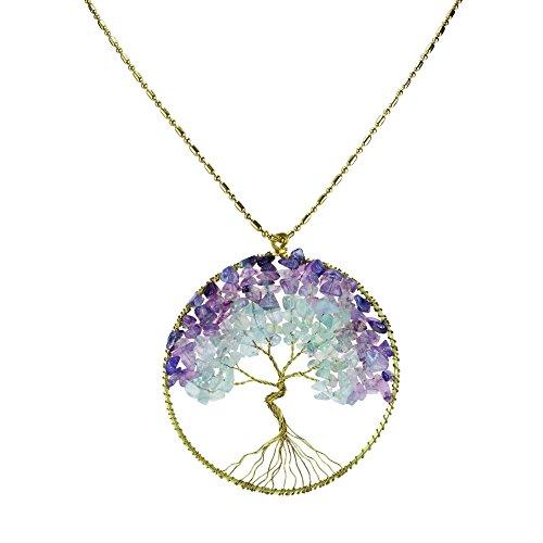 AeraVida Collar de latón con Piedra de Cuarzo Verde fluorita púrpura árbol de la Vida eterna Verde/Morado