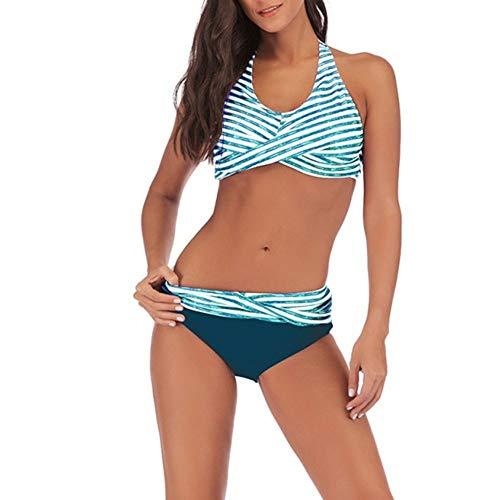 Set Bikini Donna Push Up Neckholder Crossover Vita Alta Wrap Bikini Bottoms Bikini Top Due Pezzi Costume da Bagno A Righe Sporty Costumi da Bagno Scollo A V Sexy Mare Spiaggia Swimwear Beachwear XL