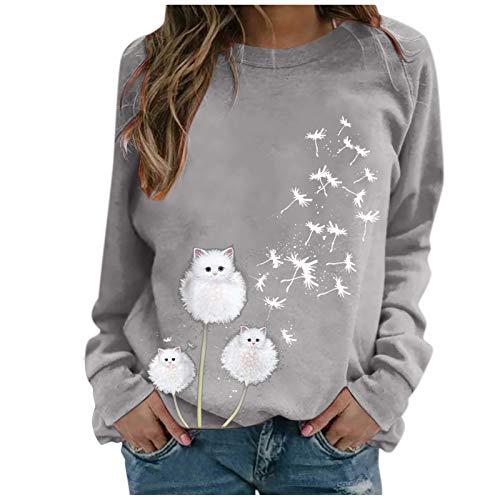 Dicomi Damen Winterjacke Pullover Oberteile Mode Rundhals Bluse Tops Sweatshirt Langarm Pulli Shirts Mäntel