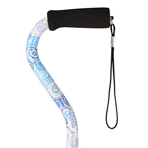 "NOVA Designer Walking Cane with Offset Handle, Lightweight Adjustable Walking Stick with Carrying Strap, ""Proud Peacock"" Design"