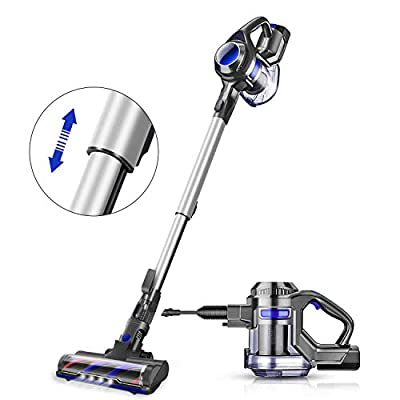 MOOSOO Cordless Vacuum, 4 in 1 Powerful Suction Stick Vacuum Cleaner 1.3L Capacity for Home Hard Floor Carpet Car Pet Lightweight XL-618A