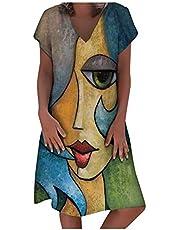 Damska sukienka lniana z dekoltem w kształcie litery V, na czas wolny, sukienka bluzkowa, letnia sukienka w stylu retro, z nadrukiem, bawełna i len, luźna sukienka w rozmiarze plus