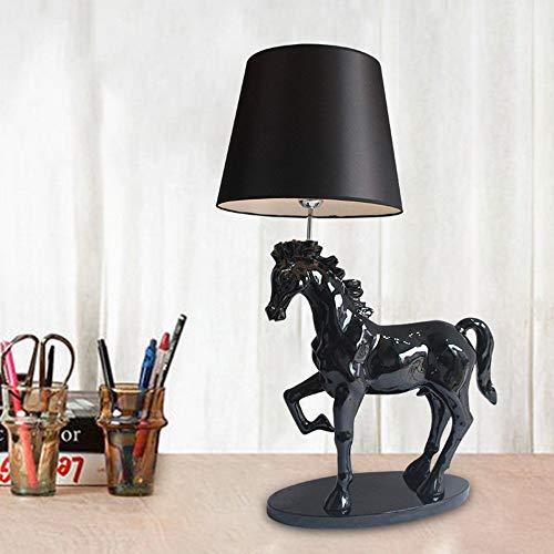 SYyshyin 40 * 26 * 58cm Caballo Negro Lámpara De Mesa Escritorio Sala De Estar Dormitorio Estudio Lectura Luz Resina Moderno Minimalista Creativo Adornos Decorativos