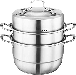 XIN Cocina Olla Vapor Vaporera Conjunto Vapor Pan con Tapa for cocinar 2 Nivel Vapor del Acero Inoxidable Olla inducción Cocina de Gas Universal Stock Pot 30cm (Size : 30cm)