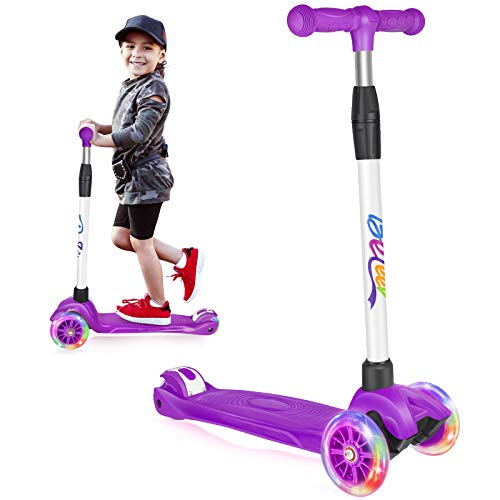 Beleev Scooters for Kids 3 Wheel Kick Scooter for Toddlers Girls Boys, 4 Adjustable Height, Lean to Steer, Light Up Wheels for Children (Purple)