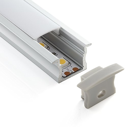LP3020 - Profil haut encastrable en aluminium - 2 barres de 2 m - Pour rubans à LED avec verre opaque, bouchons et crochets de montage inclus