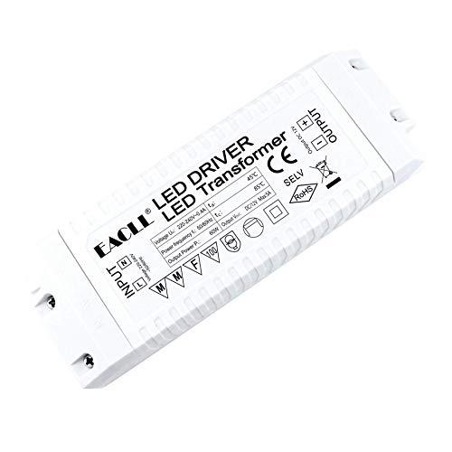 EACLL Transformador LED AC 240V a DC 12V 5A 60W, Para drive de Menos de 60W MR11 G4 MR16 GU5.3 Bombillas LED y Tiras de Luz LED, Adaptador de Lámpara LED Controlador Alimentación, 1 Pack