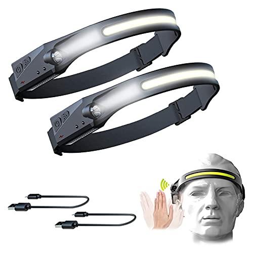Linterna Frontal con Sensor De Movimiento, 5 Modos de Iluminación, LED USB Recargable, Superbrillante COB Linterna de Cabeza IPX4 Impermeable Luz Frontal para Camping,Bicicleta,Pesca,Casco