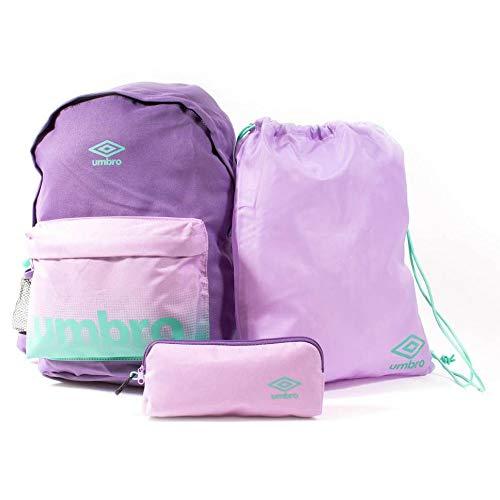 Umbro - Conjunto de mochila BTS, bolsa de gimnasio y estuche para lápices para hombre, color savia, vino, azul marino. Talla única