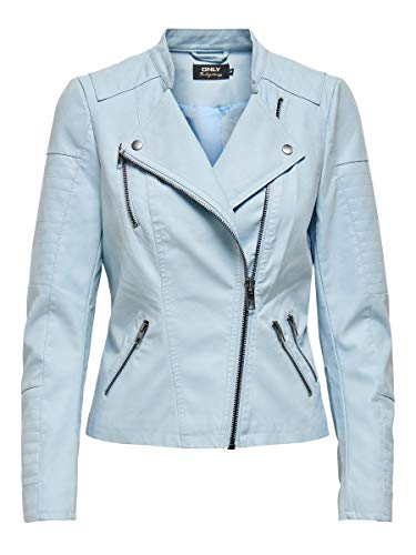 ONLY Damen Onlava Faux Leather Biker Otw Noos Kunstlederjacke, Cashmere Blue, 34 EU