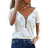 Zytyeu Blusa Mujer Dulce Escote En V Profundo Rayas Atractivas Decoración De Cremallera Mujer Camisa con Estampado En Forma De Corazón Camisa Generosa Informal Transpirable Mujer Top A-White XL