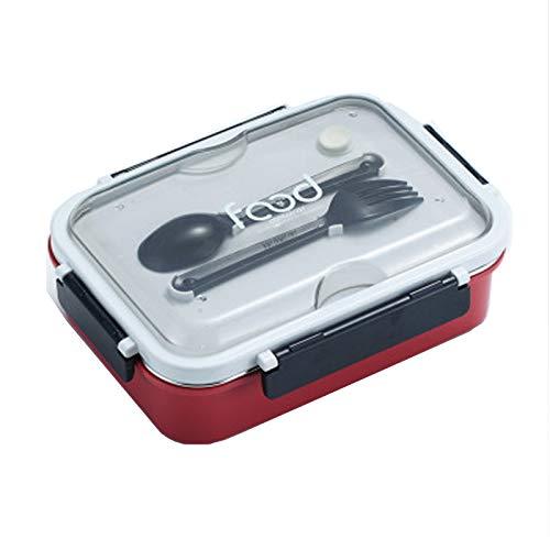 YHYH Cajas de Almuerzo para niños Caja de bento ecológica Caja de Almuerzo Caja de Almuerzo con Cuchara de Tenedor para lavavajillas y microondas, a Prueba de Fugas BPA-F Hawthorn Red