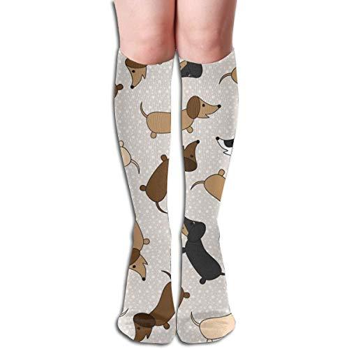 SVDziAeo Tanzende Dackel (Creme) Unisex Bequeme Crew Socken Athletic Casual Socke Am besten für Laufen, Sport, Flugreisen