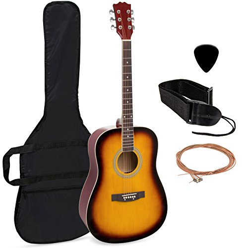 Best Choice Products 41in Full Size All-Wood Acoustic Guitar Starter Kit with Case, Pick, Shoulder Strap, Extra Strings (Sunburst)