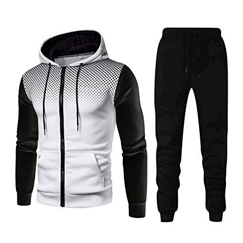 Pistaz - Conjunto de chándal de gimnasia de 2 piezas, deportivo, para invierno, a cuadros, chaqueta con cremallera y pantalón con cordón, blanco, medium