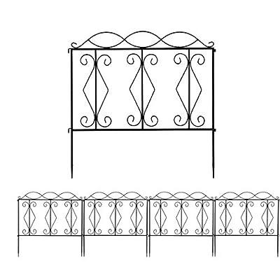 "2021 New HomeLiving Decorative Vintage 2424"" Wave Top Iron Art Garden Fence - Metal Fencing Border for Yard Patio Lawn Landscape ACA (Color : Black Spray Wave Top)"