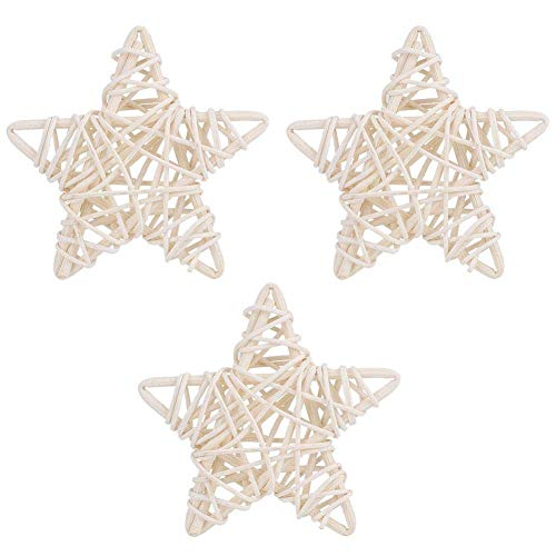 Rattan Stars - 6Pcs DIY Crafts Natural Rattan Stars for Wedding Party Christmas Decoration(White)