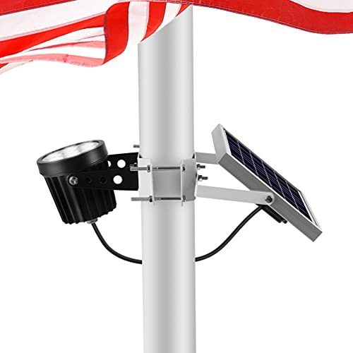 """Solar Flag Pole Light Outdoor Dusk to Dawn Waterproof Batteries Replaceable Fits 0.6""""-3"""" Flagpole Solar Powered Led Light White 6000K"""