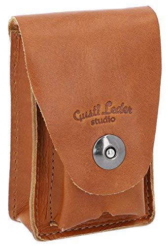 Gusti Zigarettenetui Leder - Milan Hülle für Zigarettenschachteln und Feuerzeug Zigaretten Hülle Zigarettenbox Braun Leder