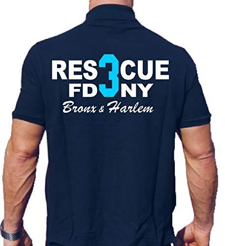 feuer1 Poloshirt Navy, Rescue 3 - Big Blue Bronx & Harlem New York City Fire Department