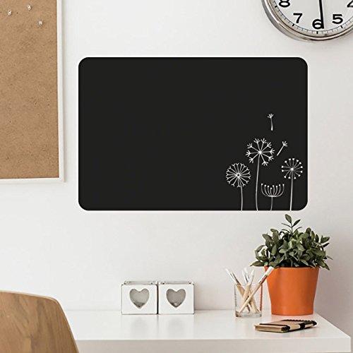 IDEAVINILO-Sticker Ardoise avec Fleurs troqueladas.-Couleur : Noir-Dimensions : 70 x 47 cm
