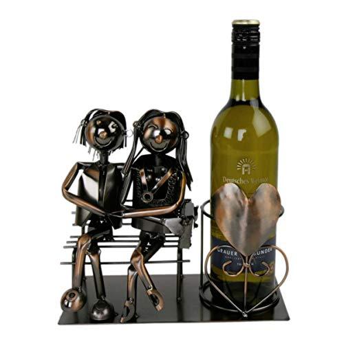 MIK Funshopping Metall Weinflaschenhalter - Motiv Liebespaar - Deko Flaschen Halter Wein Ständer (kupferfarbend)