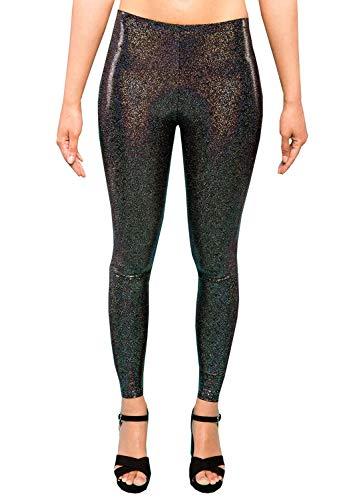 Holografische Zwarte Glitter Dames Leggings Dames Party Panty Sparkly Festival Broek EDM Kleding XS S M L XL XXL
