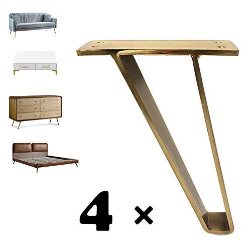 DFLY Schrankfüße, Hochleistungs-Industriemöbel Tischbein Eisen Couch Tischbein Für DIY Home Office Schreibtisch Beistelltisch Nachttisch,4Er Pack,Gold,15CM