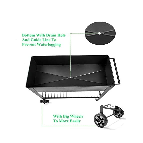 Zizin Raised Garden Planter Box with Legs Outdoor Metal Elevated Garden Bed On Wheels Apartment Vegetables Herb Kit,40… 5 Metal Material: The raised flower beds outdoor is made of stable galvanized steel, the frame is solid and reinforced.It can be used to place outside or indoor for long time Drainage: In the middle of the cart is a water hole and drainage line to prevent waterlogging, planter can planted directly in the bed Easy Assemble: Space saving standing planter is easy to put together, go ahead to raise the plants.