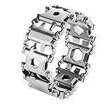 HiExotic-bracelet Bangle,Men Outdoor Spliced Bracelet Multifunctional Wearing Screwdriver Tool Hand Chain Field Survival Bracelet Silver
