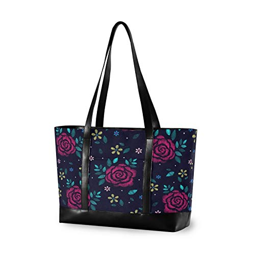 Dark Floral Decorative Embroidery Canvas Laptop Tote Bag for Women, Multifunctional Work Travel Shopping Duffel Carrying Shoulder Handbag Compatible for 14 inch to 15.6 inch Laptop Bag
