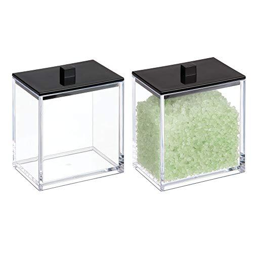mDesign Modern Square Bathroom Vanity Countertop Storage Organizer Canister Jar for Cotton Swabs, Rounds, Balls, Makeup Sponges, Bath Salts - 2 Pack - Clear/Matte Black